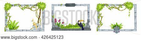 Jungle Stone Game Frame Set, Vector User Interface Menu Panel Collection, Rock Tile Border, Toucan.
