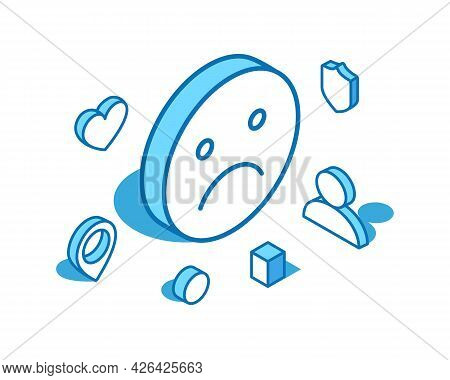 Unhappy Emoji Blue Line Isometric Illustration. Upset, Unsatisfied Face 3d Banner Template.