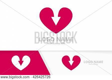 Vector Heart And Arrow Logo Combination. Unique Love Logotype Design Template.