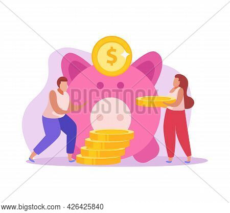 Crowdfunding Flat Icon With Human Characters Putting Coins Into Piggy Money Box Vector Illustration