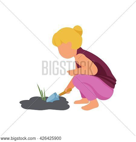 Spring Gardening Icon With Girl Digging Soil With Scoop Flat Vector Illustration