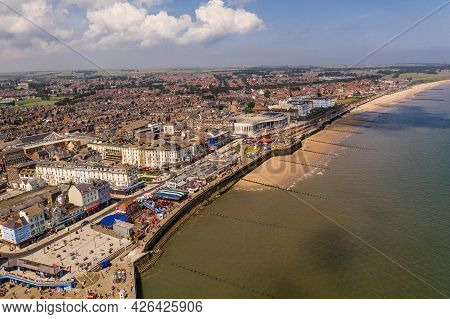 Bridlington, Uk, - July 9, 2021.  Aerial Landscape View Of The Promenade And Seafront Of The Small Y