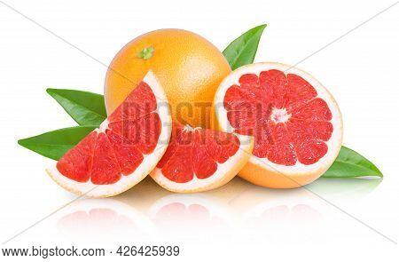 Ripe Juicy Grapefruit And Grapefruit Slices Isolated On White Background. Fresh Fruits.