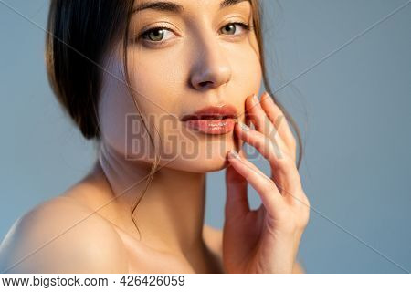 Facelift Treatment. Healthy Beauty. Skin Cosmetology. Natural Makeup. Gorgeous Relaxed Young Woman W