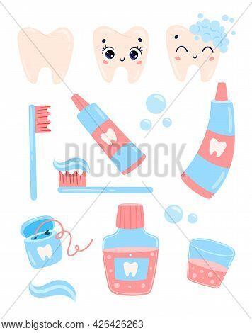 Vector Flat Doodle Cute Cartoon Brush Your Teeth Set: Teeth, Toothpaste, Dental Floss, Foam, Mouthwa