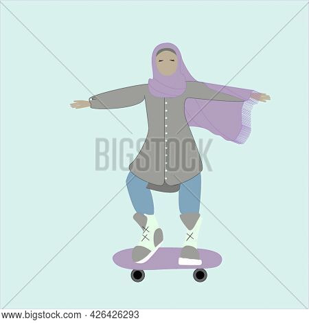 A Muslim Woman In A Hijab, An Athlete In A Tunic And A Headscarf, A Free Girl Rides On Roller Skates