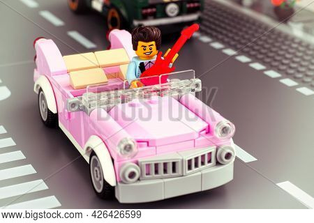 Tambov, Russian Federation - January 22, 2020 Lego Rock-n-roll Star Minifigure With Guitar Driving P