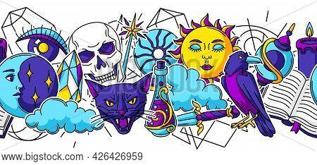 Magic Seamless Pattern With Mystery Items. Mystic, Alchemy, Spirituality Symbols.