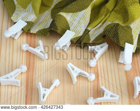 Plastic Curtain Hook Clips. Curtain Rail Details. Ceiling Mounted Curtain Rails Accessories