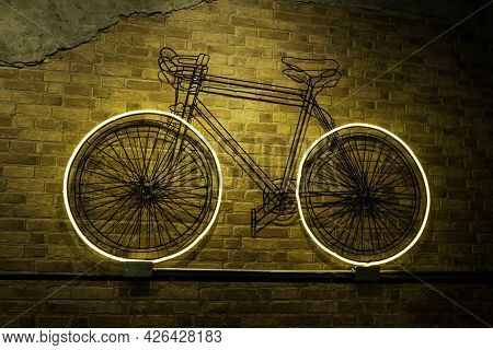 Neon Lamp On Brick Wall, Beautiful Decoration On Wall