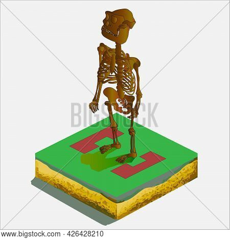 Ancient Man Isometry Vector Sign Color Art
