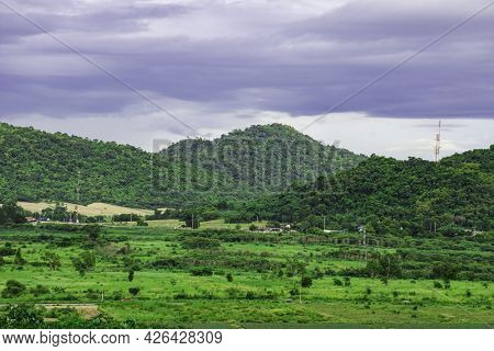Landscape Mountain With Green Nature, Energy Be Friendly With Environment Concept, Power Distributio