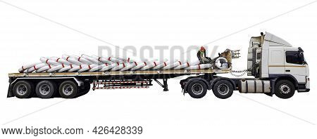 Isolate Truck Car Contain Goods On White Background, Truck Car Park To Load Products From Warehouse