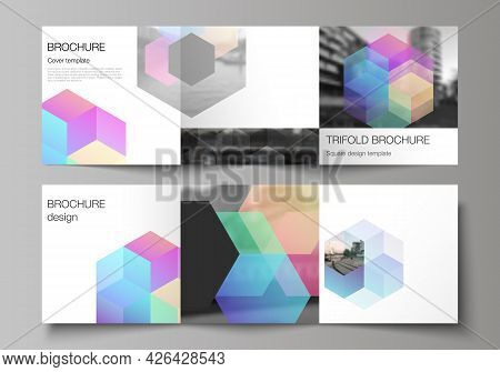 Vector Layout Of Square Format Covers Design Templates With Abstract Shapes And Colors For Trifold B