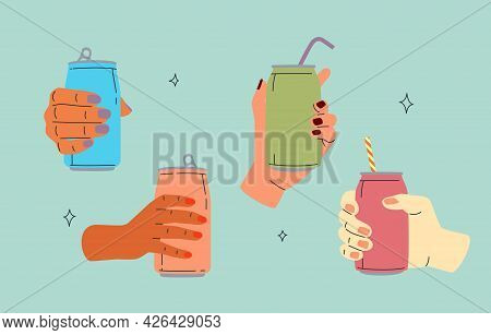 Hands With Drinks In Aluminum Cans With No Labels. Beverages In Metal Containers. Cartoon Templates