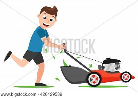 The Man Runs With A Lawn Mower On A White Background. Lawn Mowing