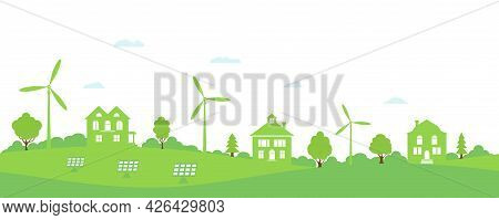 Ecology Concept And Environment Conservation. Green House. Green Energy With Wind Energy And Solar P