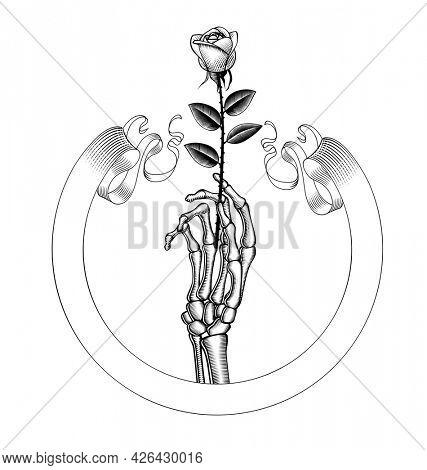 Vintage skeletal hand with white rose. Vintage emblem, lapel, badge, logo. Vintage engraving stylized drawing. Black and white tattoo symbol.