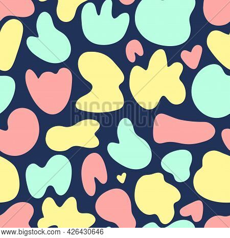 Seamless Pattern Vector Background With Pastel Colored Random Organic Shape Blobs On Blue Backdrop.