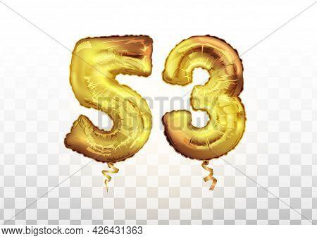 Vector 53 Years Golden Aluminum Foil Balloon Anniversary. Golden Foil Balloons Number 53