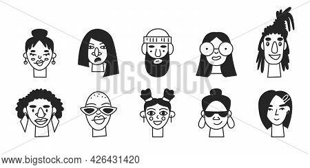Doodle Monochrome Monoline People Portrait Isolated. Line Male And Female User Profile Avatars. Tren