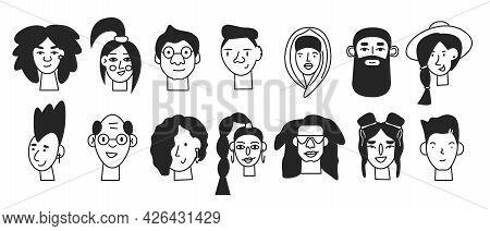 Doodle Black Minimal Human Face Icons Isolated. Line Male And Female User Profile Avatars. Trendy Ha