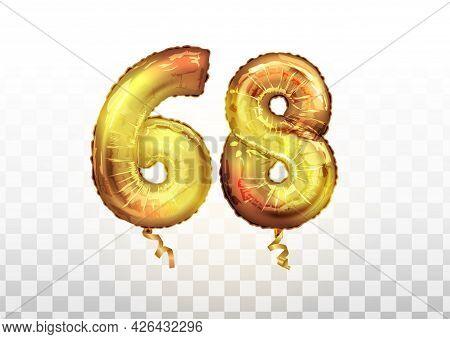 Vector Golden Number 68 Sixty Eight Metallic Balloon. Party Decoration Golden Balloons. Anniversary