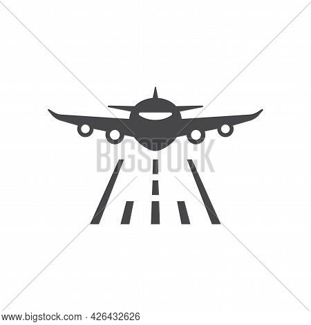 Airplane And Runway Black Vector Icon. Plane Front, Commercial Flying Symbol.