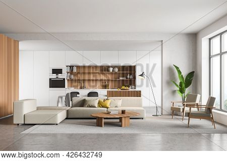Living Room Interior With White Kitchen Behind The Sofa With Coffee Table. Table With Chairs Near Th