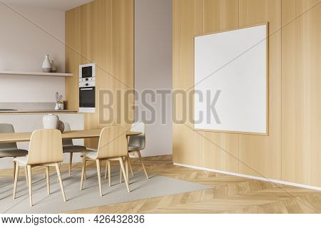 Empty Wide Banner For Your Design On The Wooden Wall In The Dining Room Interior. Table, Five Chairs