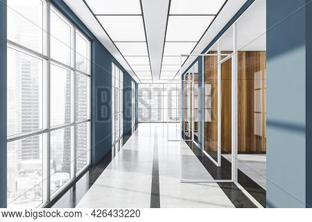 Panoramic Interior Of Passage With Glass Doors. Empty Space With Offices And Row Of Same Windows On