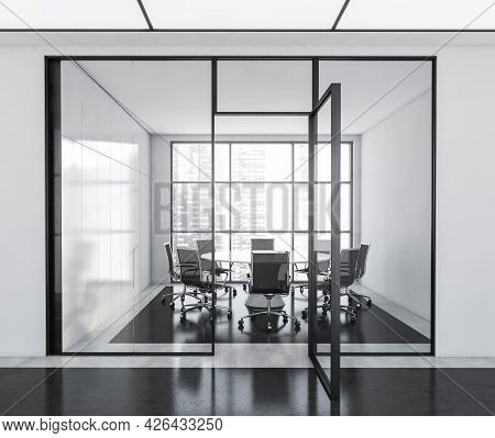 Panoramic Meeting Room With Glass Wall And Door. Front View Of The Interior From The Passage. Round
