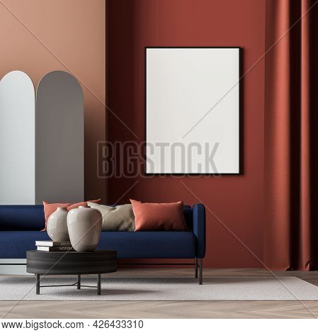 Empty Mockup Poster On The Jasper Waiting Room Wall. Interior In The Shades Of Red With Blue Sofa, C