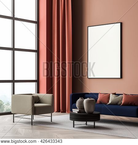 Banner In The Coral Pink And Jasper Panoramic Living Room With Bright Blue Sofa With Cushions. Corne