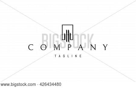 Vector Logo On Which An Abstract Image Of Several Skyscrapers In A Linear Style.