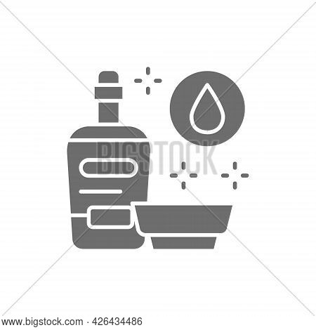 Vector Soy Sauce, Liquid Seasoning Gray Icon.