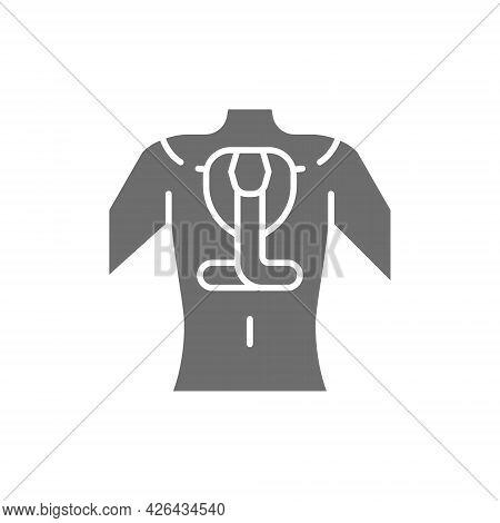 Snake Tattoo Sketch On Human Body Gray Icon.