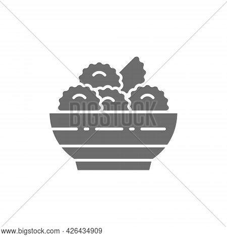 Vector Vareniki, Dumplings, Ukrainian Cuisine Gray Icon.