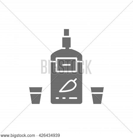 Vodka With Pepper, Ukrainian National Alcohol Gray Icon.