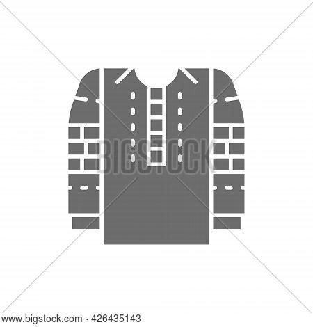 Embroidered Shirt, National Ukrainian Clothing Gray Icon.