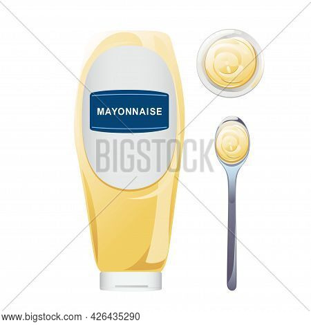 Mayonnaise In Glass Bottle With Spoon Set. Jar With White Sauce. Condiment Container In Cartoon Styl