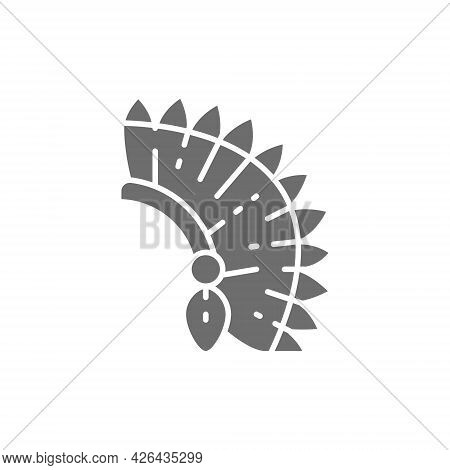 Indian Chief Headdress, Native American Hat Grey Icon.