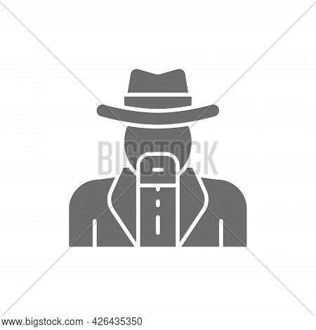 Vector Cowboys, Sheriff Grey Icon. Isolated On White Background