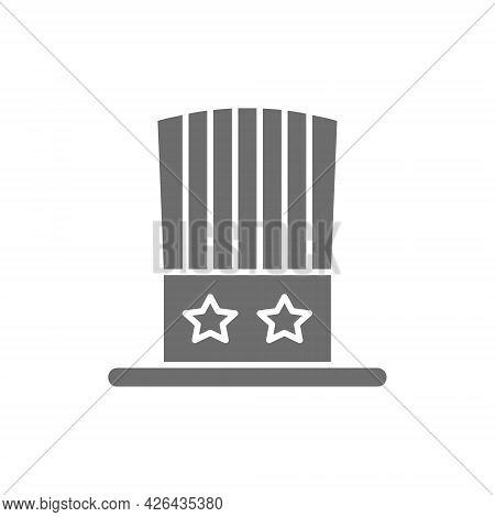 Uncle Sam Hat Grey Icon. Isolated On White Background