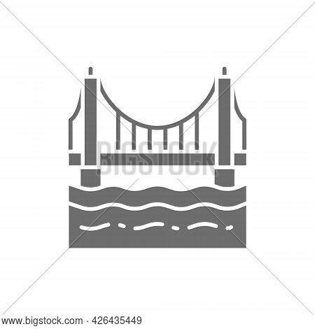 Golden Gate Bridge, San Francisco, Usa Grey Icon.
