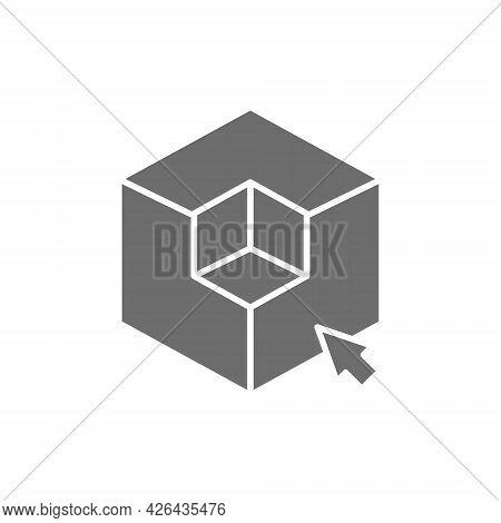 3d Modeling, 3 Dimensional Model, Cube Geometric Shape Grey Icon.