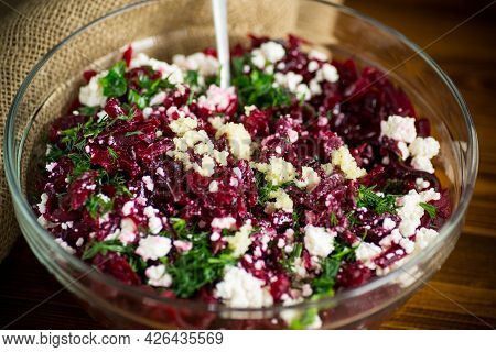 Dietary Salad Of Boiled Beets With Walnuts And Cottage Cheese