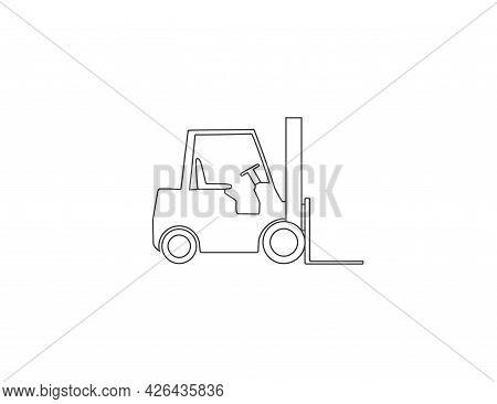 Fork Truck, Forklift, Transport Outline Icon. Vector Illustration.