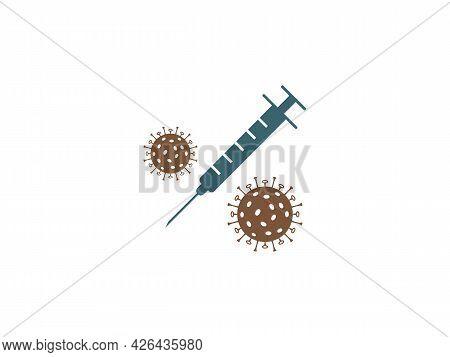 Vaccination, Injection, Inoculation Icon. Vector Illustration. Flat Design.