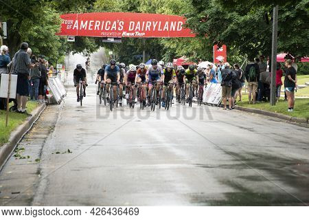 Wauwatosa, Wi/usa - June 26, 2021: Category Four And Novice Men Racers On Course At Washington Highl